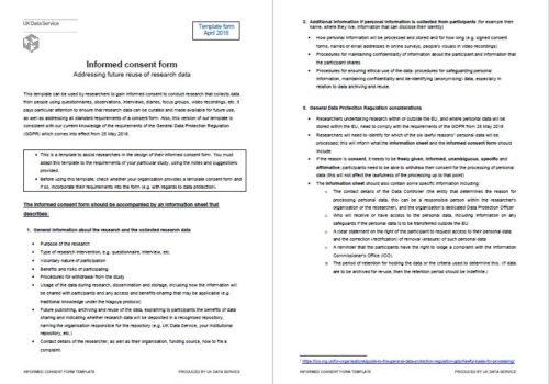 UKDA Model Consent Form 2018